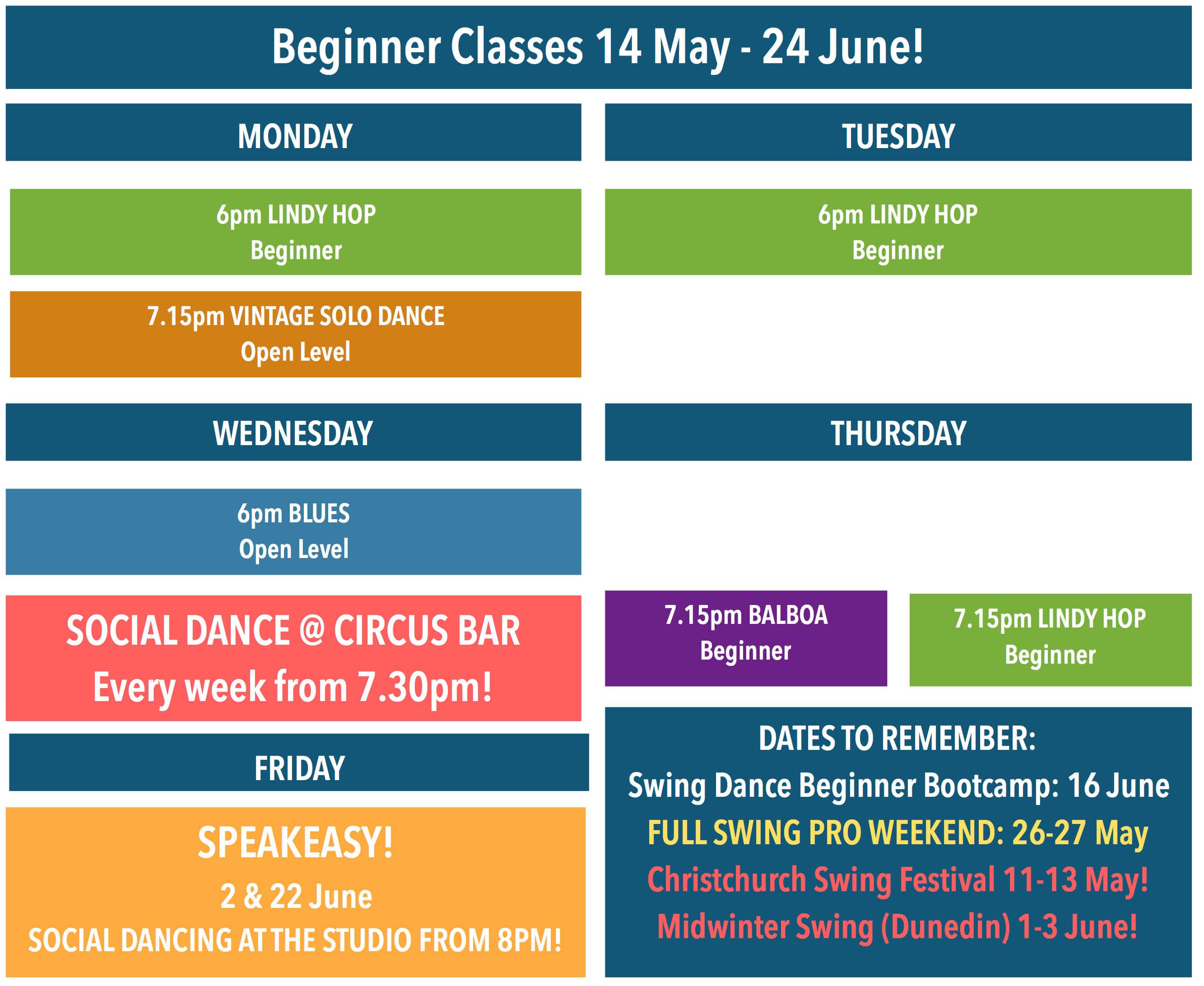 Beginner Classes Timetable for Block 4
