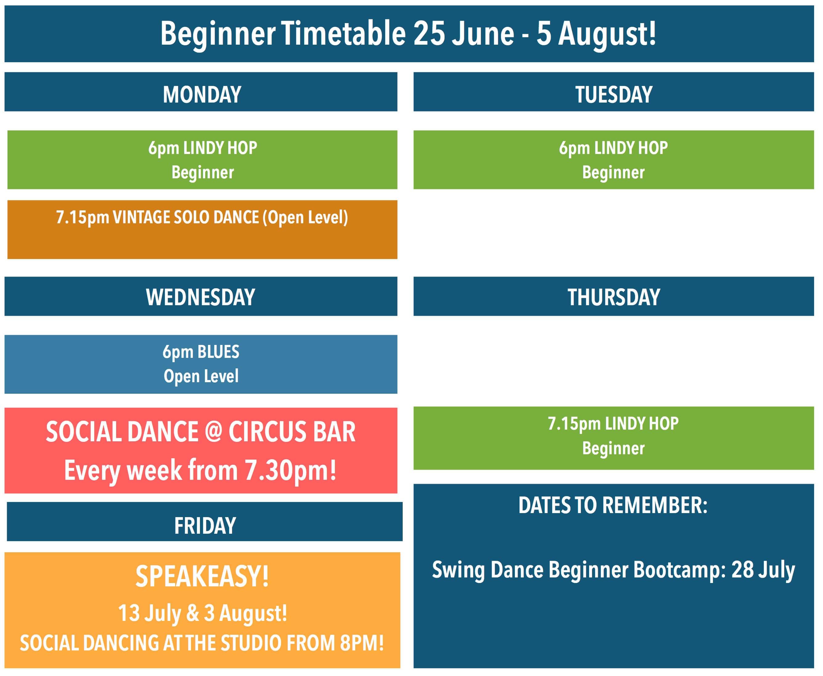 Beginner Classes Timetable for Block 5