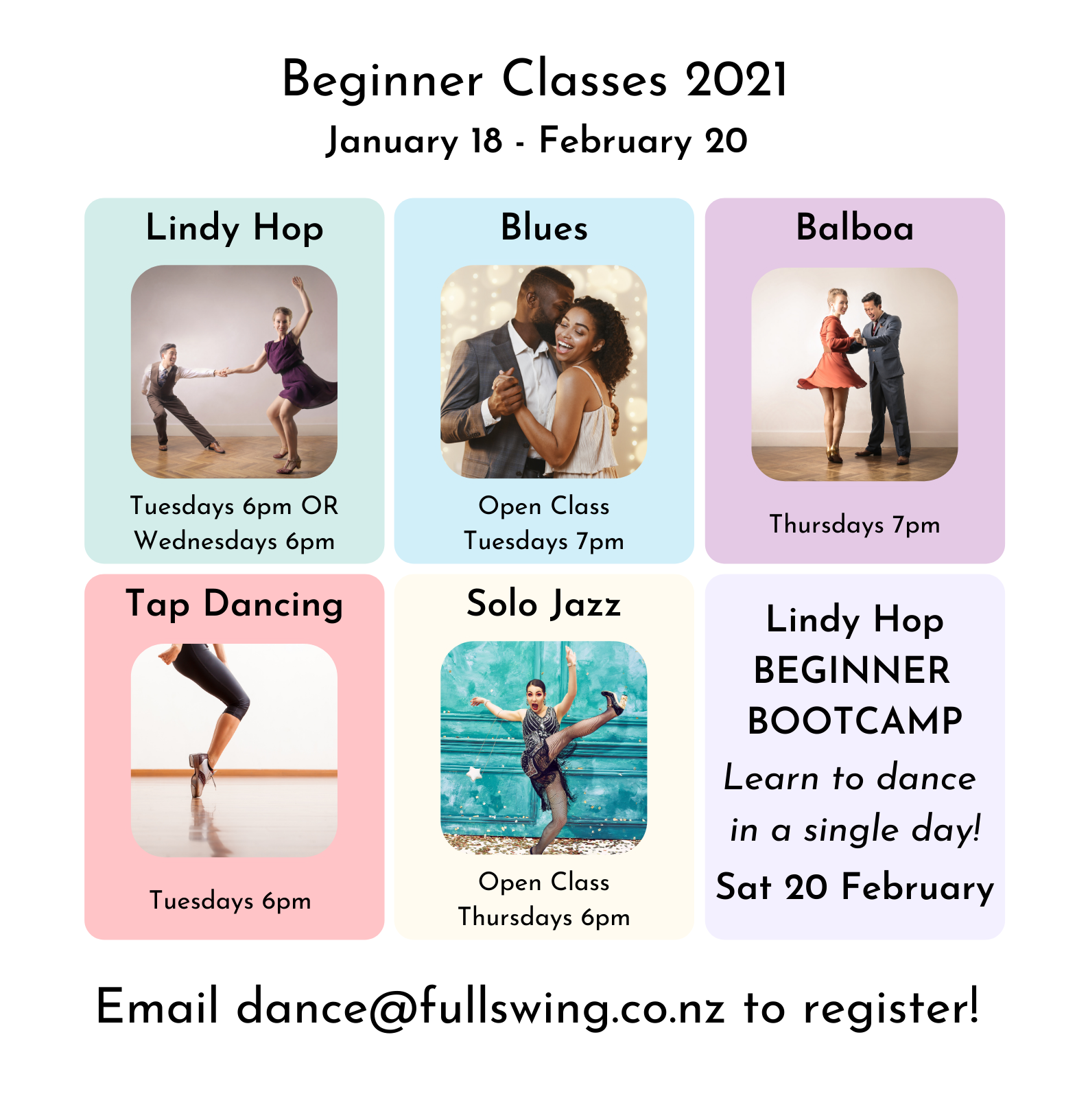 Beginner timetable information (in text below) with images of dancers dancing each style