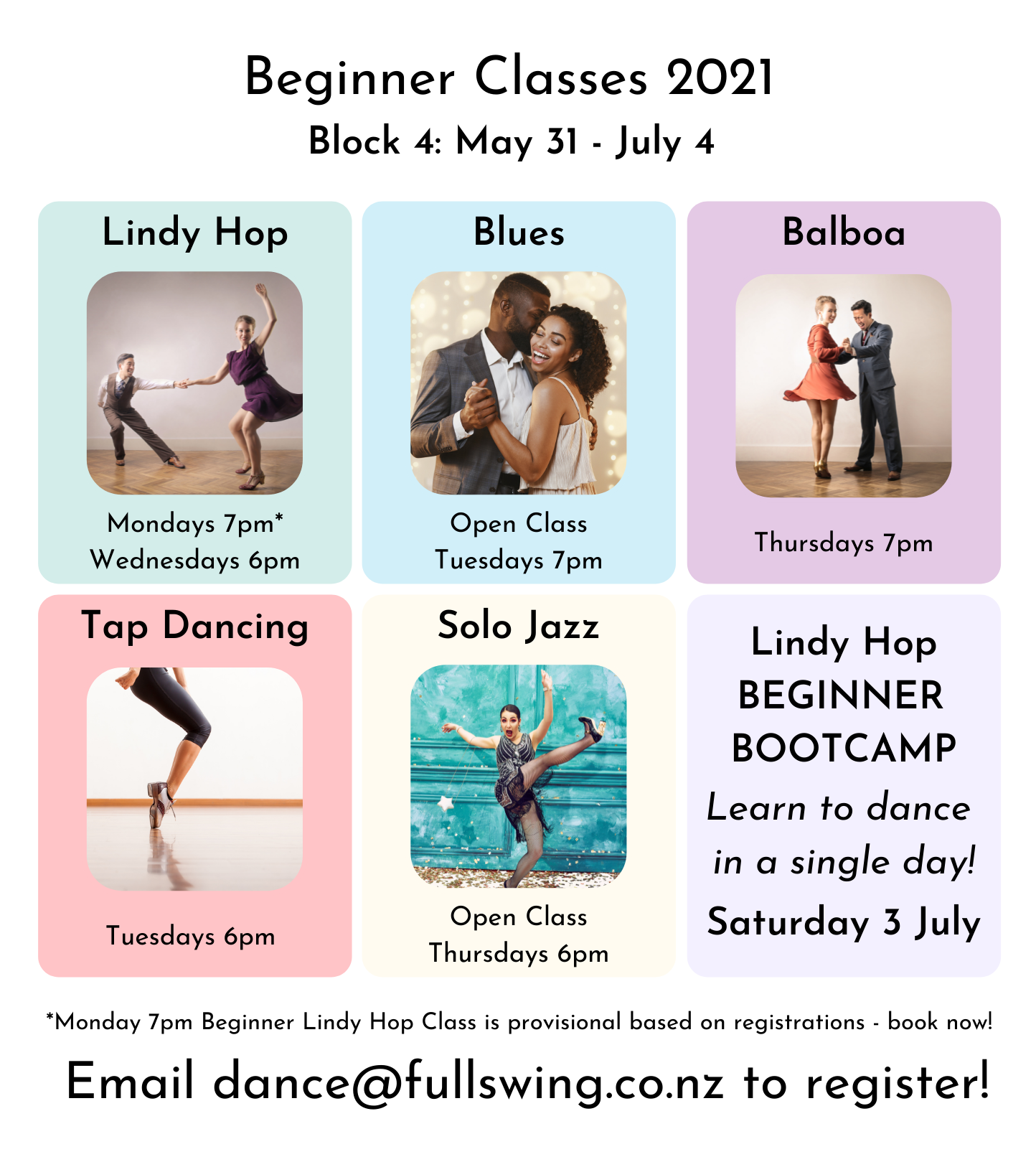 Visual timetable of beginner and open classes