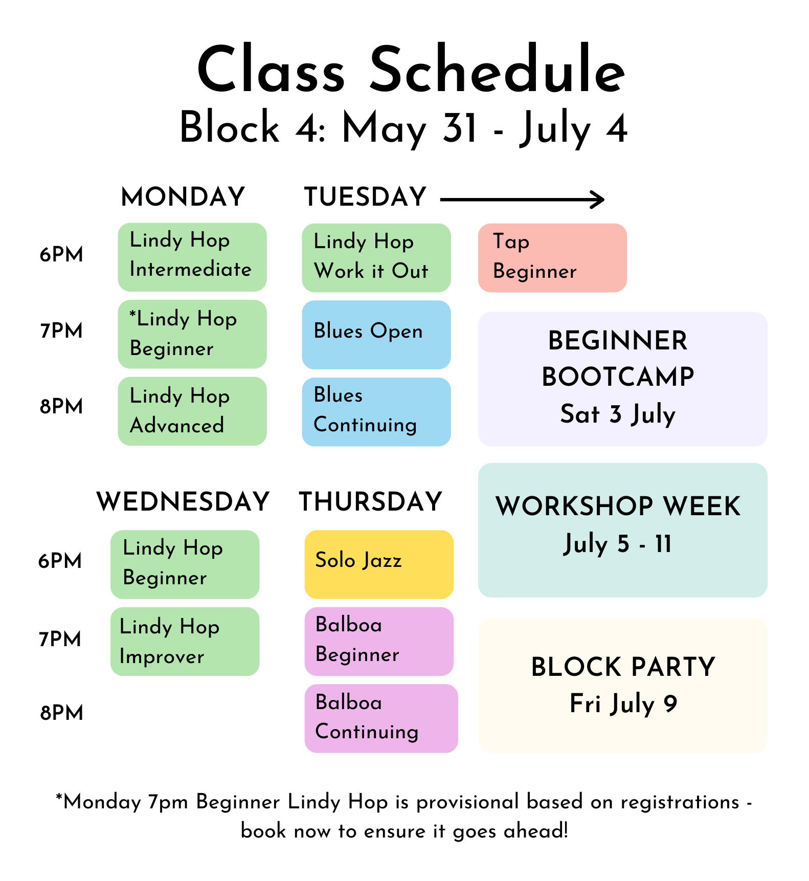 Colour coded visual timetable