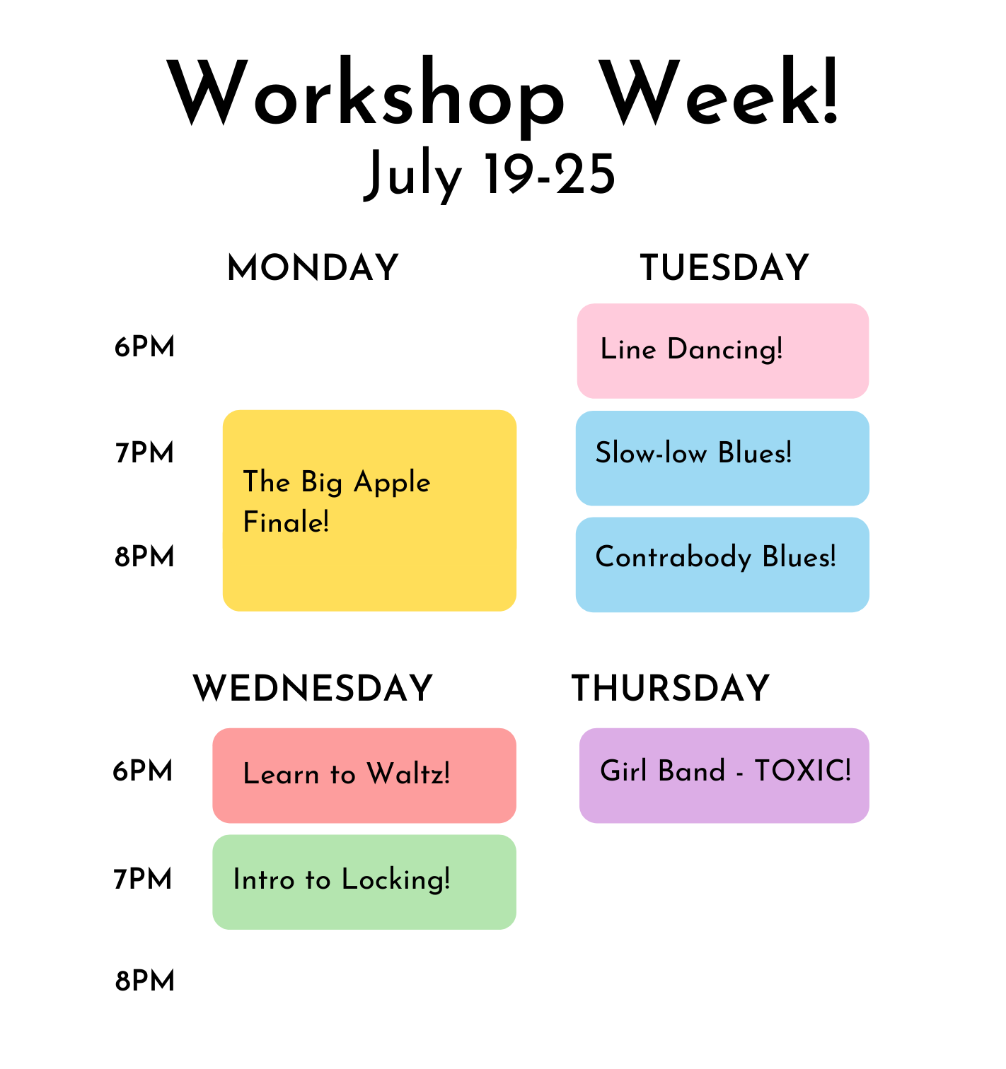 Colour coded visual timetable. All details of class dates, times and descriptions in link above